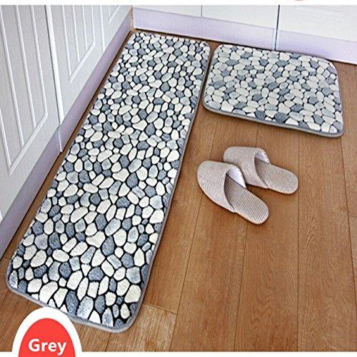 ustide 2-piece grey stone rug bathroom rug set coral fleece memory