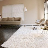 Super Area Rugs,Hand-woven Flokati White Shag Rug Natural 8x10 Wool (8ft X 10ft)