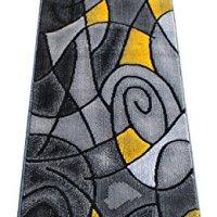 Masada Rugs, Modern Contemporary Runner Area Rug, Yellow Grey Black (2 Feet X 7 Feet)