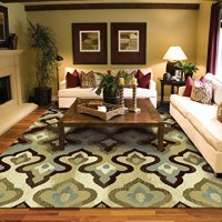 Luxury Contemporary Rug 8x5 Modern Rugs for Living Room Luxtury Candle Pattern Area Rugs Floral 5x8 Rug Contemporary Rugs 5x7 Blue Cream Beige Brown Carpet Bedroom Dining Room Rug
