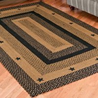 IHF Home Decor New Braided Rugs Star Black Design Rectangular Rug 100% Jute Material Black with Tan Color