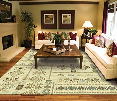 Modern Casual Turkish Kilim Style Rug 8x5 Cream Blue Beige Brown Area Rugs  5x7 Contemporary Rugs