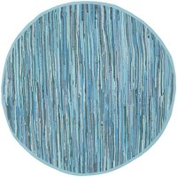 Safavieh Rag Rug Collection RAR121B Handmade Blue and Multicolored Cotton Round Area Rug, 4 feet in Diameter (4' Diameter)
