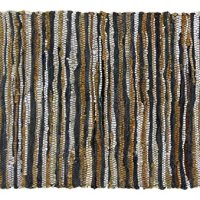 Cotton Craft - Genuine Leather Chindi Rug - 3x5 Feet - Grey Multi - Hand woven and Hand Stitched - Strips of Genuine Leather are woven by hand to get this attractive artisan look - Fully Reversible