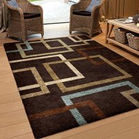 "Orian Rugs Geometric Linked-In Mocha Blue Area Rug (5'3"" x 7'6"")"