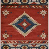 "Nevita Collection Southwestern Native American Design Area Rug Rugs Geometric (Orange (Terra) Blue Beige Red, 5'3"" x 7'1"")"