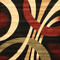 New City Brand New Contemporary Brown and Beige Modern Wavy Circles Area Rug 7'10 x 10'10