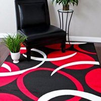 1062 Red Black 5'2x7'2 Area Rugs Carpet Modern Abstract New