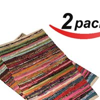 "2 pack - 20""x31.5"" Cotton Rag rug multi color, handmade heavy woven ,Premium quality branded Chindi rug by La Vivien"
