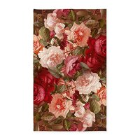 CafePress - Floral Pink Roses 3'X5' - Decorative Area Rug, Fabric Throw Rug