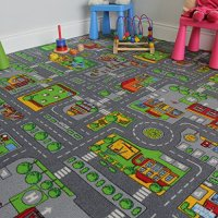 "Children's Play Village Mat Town City Roads Area Rug 200cm x 200cm (6ft 7"" x 6ft 7"")"