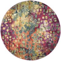 Safavieh Monaco Collection MNC225D Modern Abstract Watercolor Pink and Multi Round Area Rug (5' Diameter)