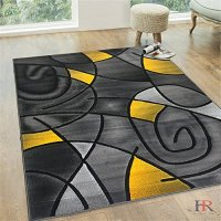 HR YELLOW AND GREY MODERN ABSTRACT CONTEMPORARY CIRCLE PATTERNS DESIGN AREA RUG (5 feet by 6 feet 11 inch)