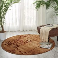 "Nourison Somerset (ST74) Latte Round Area Rug, 5-Feet 6-Inches by 5-Feet 6-Inches (5'6"" x 5'6"")"