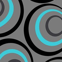 T1017 Turquoise Gray 5'2 x 7'2 Modern Contemporary Area Rug Carpet