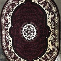 Traditional Oval Area Rug Burgundy Design 101 Americana (5 Feet 2 Inch X 7 Feet 3 Inch)