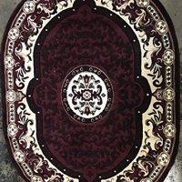 Traditional Oval Area Rug Burgundy Design 101 Americana (5 Feet 2 Inch X 7 Feet 3 Inch)