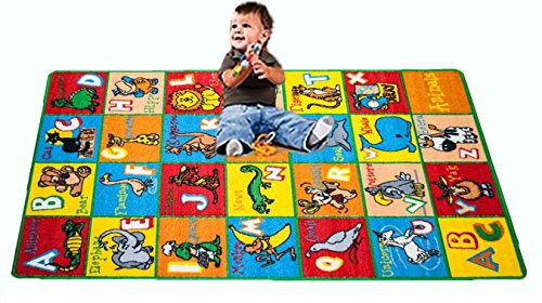 kids rug abc animals area rug 8u0027 x 11u0027 non slip gel backing