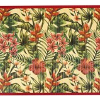 Kitchen Rugs Area Rugs 3 ft by 5 ft Bamboo for Indoor or Outdoor Patio Rug Tropical Hibiscus
