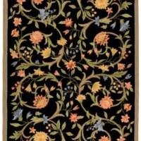 "Safavieh Chelsea Collection HK248B Hand-Hooked Black Premium Wool Area Rug (1'8"" x 2'6"")"