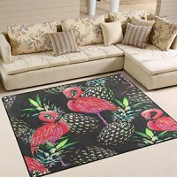 "ALAZA Tropical Pink Flamingos Exotic Birds Pineapple Area Rug Rugs for Living Room Bedroom 5'3""x4'"