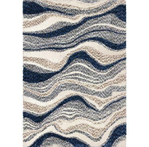 "12/""x24/"" Blessed rug carpet blue green dots white"