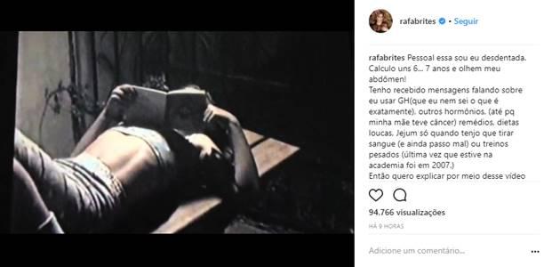 Publicação de Rafa Brites (Reprodução/Instagram)