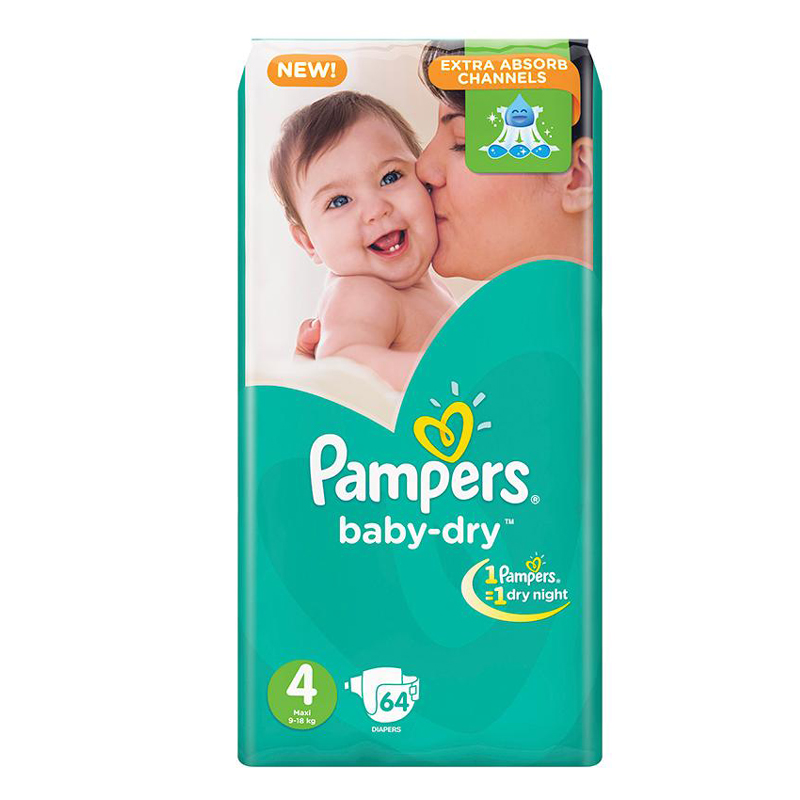 Pampers Baby Dry Diapers Large Size 64Count 1999