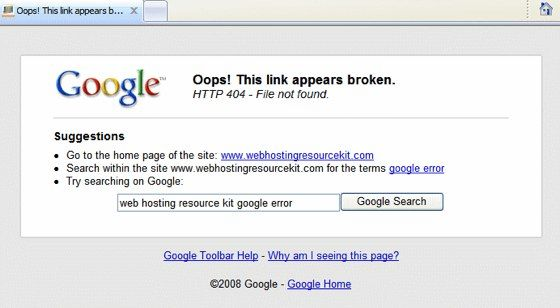 Google Toolbar fura paginile 404