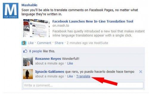 Facebook traduce comentariile