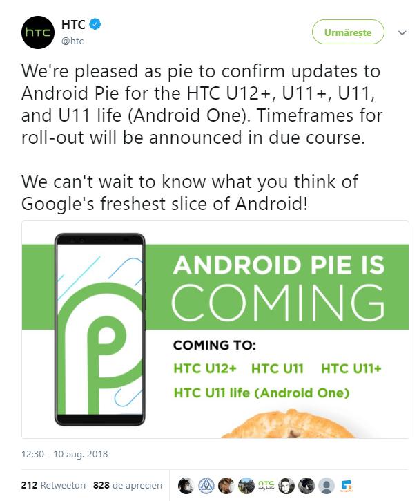 HTC confirma Android 9 Pie pentru 4 telefoane