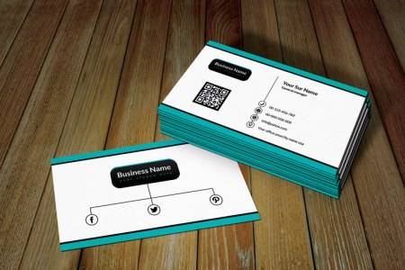 White Ratro Business Card Template with QR Code Free White retro business card template with QR code is perfect use personal and  business industry  Template design  layout  color is Pacific Blue you can  change