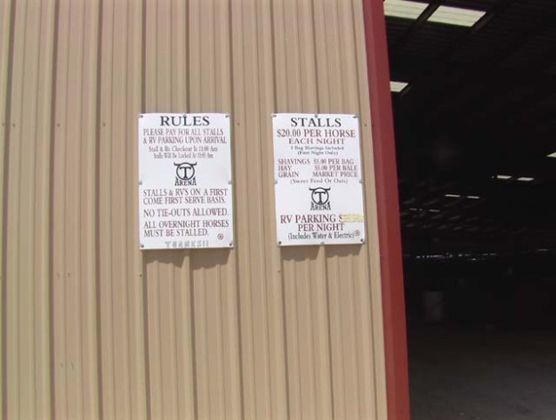 Signs on the stall entry