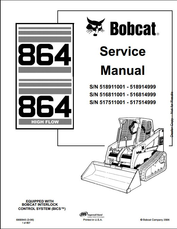 Bobcat 864 High Flow Skid Steer Loader Service Repair