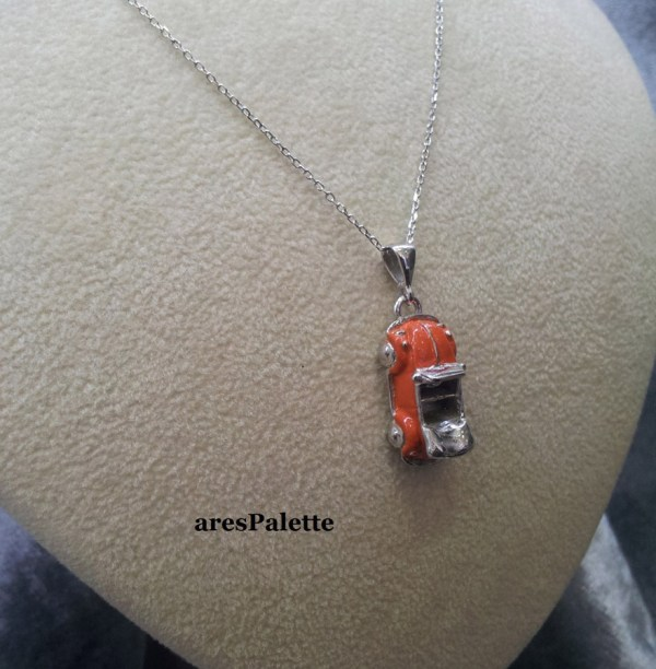 orange vw beetle necklace silver 7