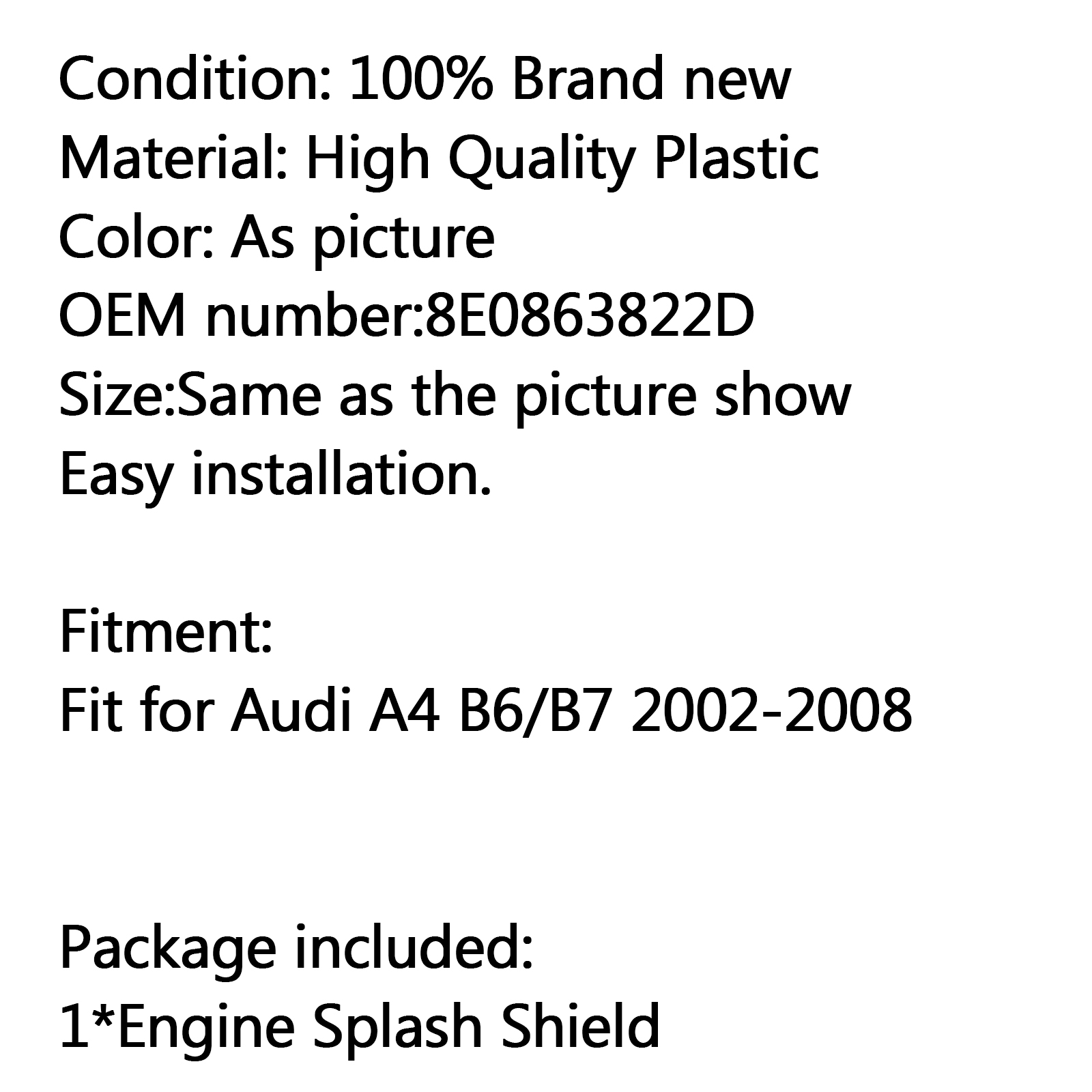 New Rear Engine Under Cover Splash Shield For Audi A4 B7