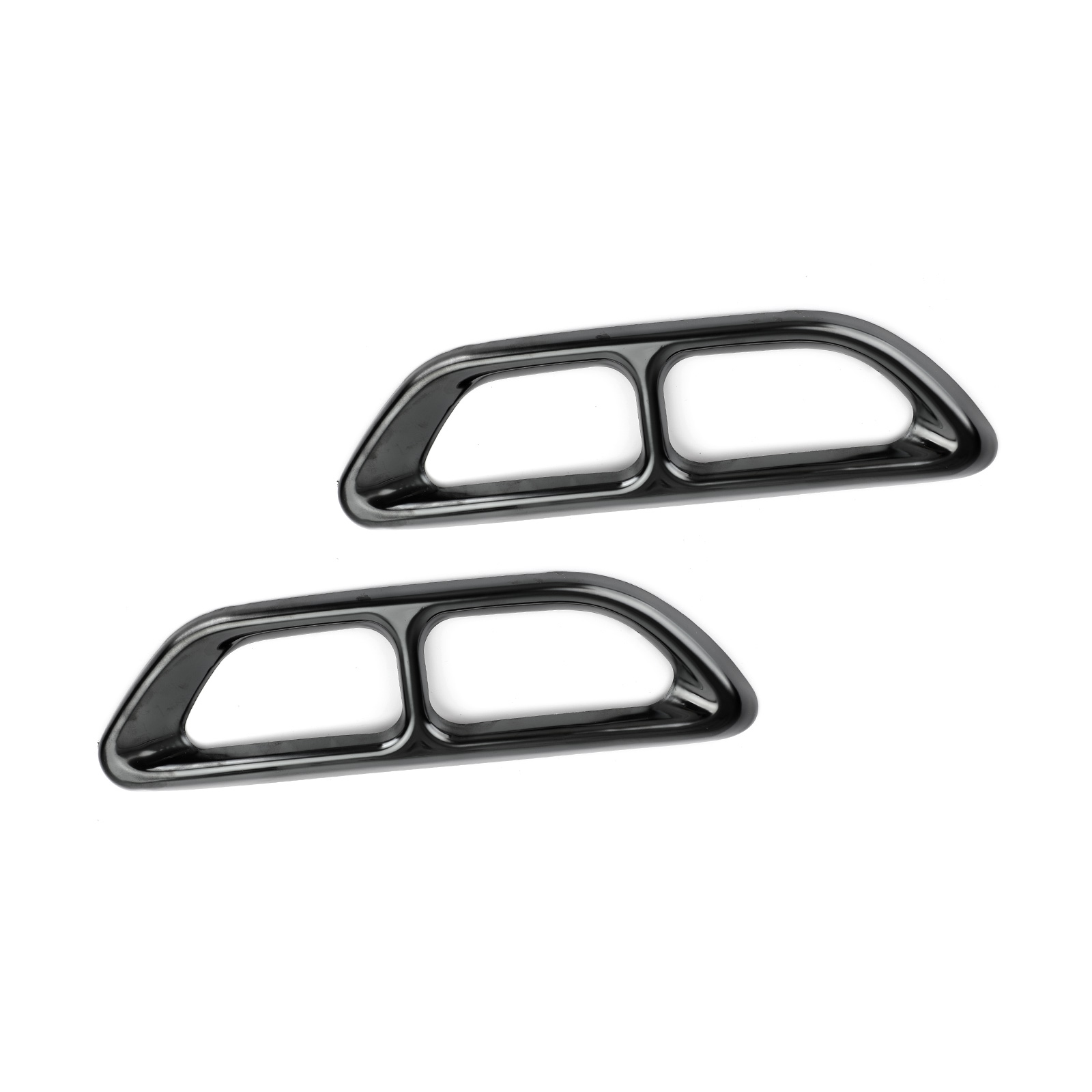 2pcs Black Steel Rear Cylinder Exhaust Pipe Cover Fit For