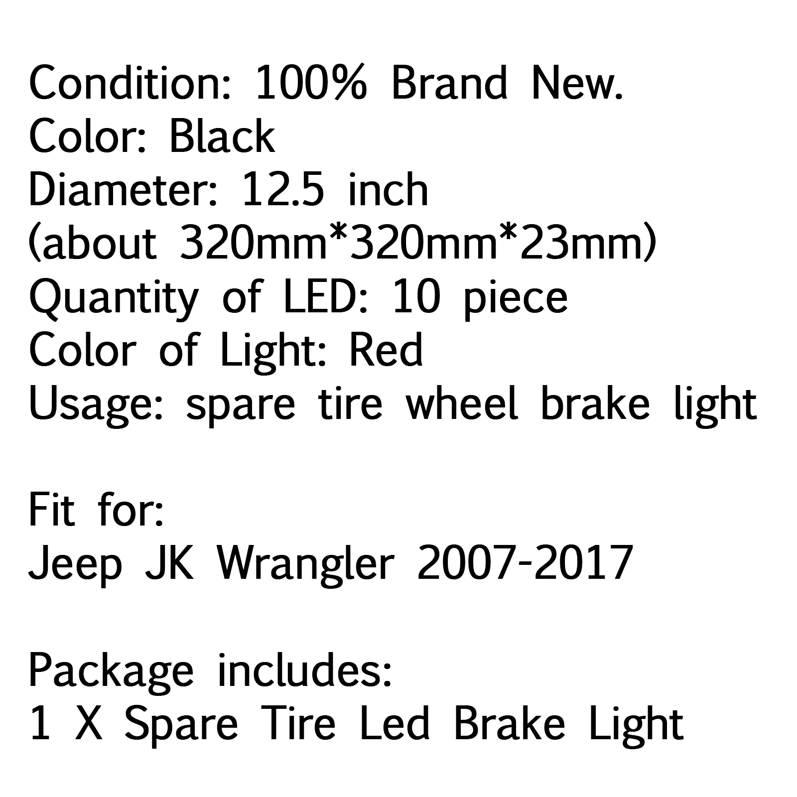 Spare Tire Wheel Led 3rd Third Brake Light Lamp Ring For