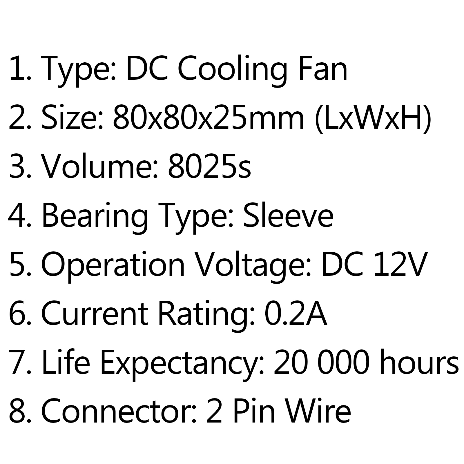 Dc Brushless Cooling Pc Computer Fan 12v 24v S 80x80x25mm 0 2a 2pin Wire C