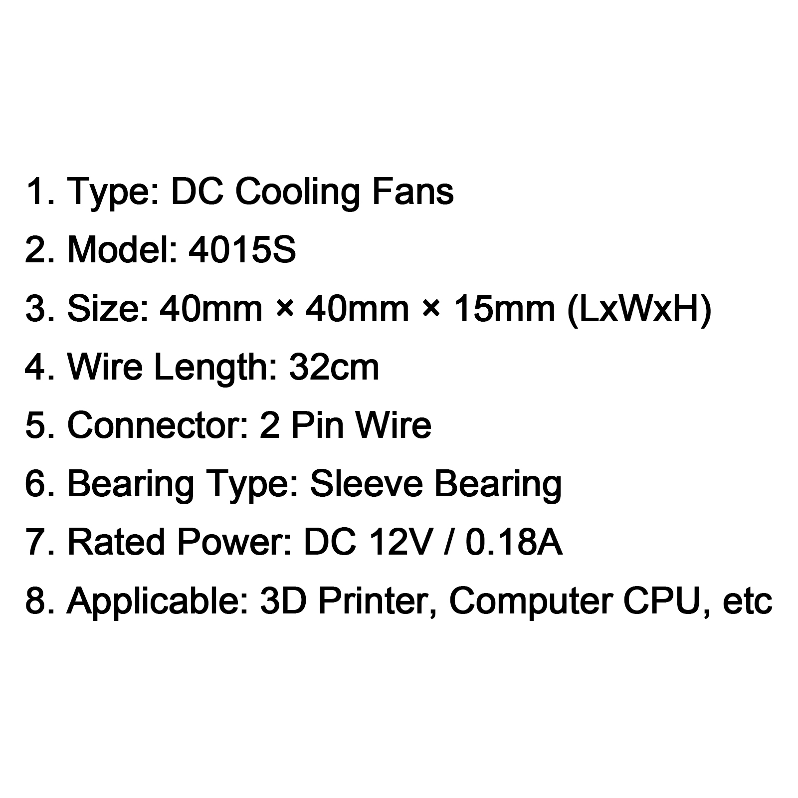 12v Cooling Computer Fan Sleeve Bearing Small 40mm X 10mm