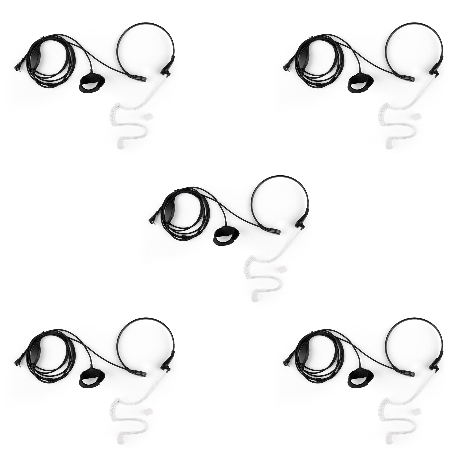 5x Throat Covert Acoustic Tube Throat Mic Headset Ptt For