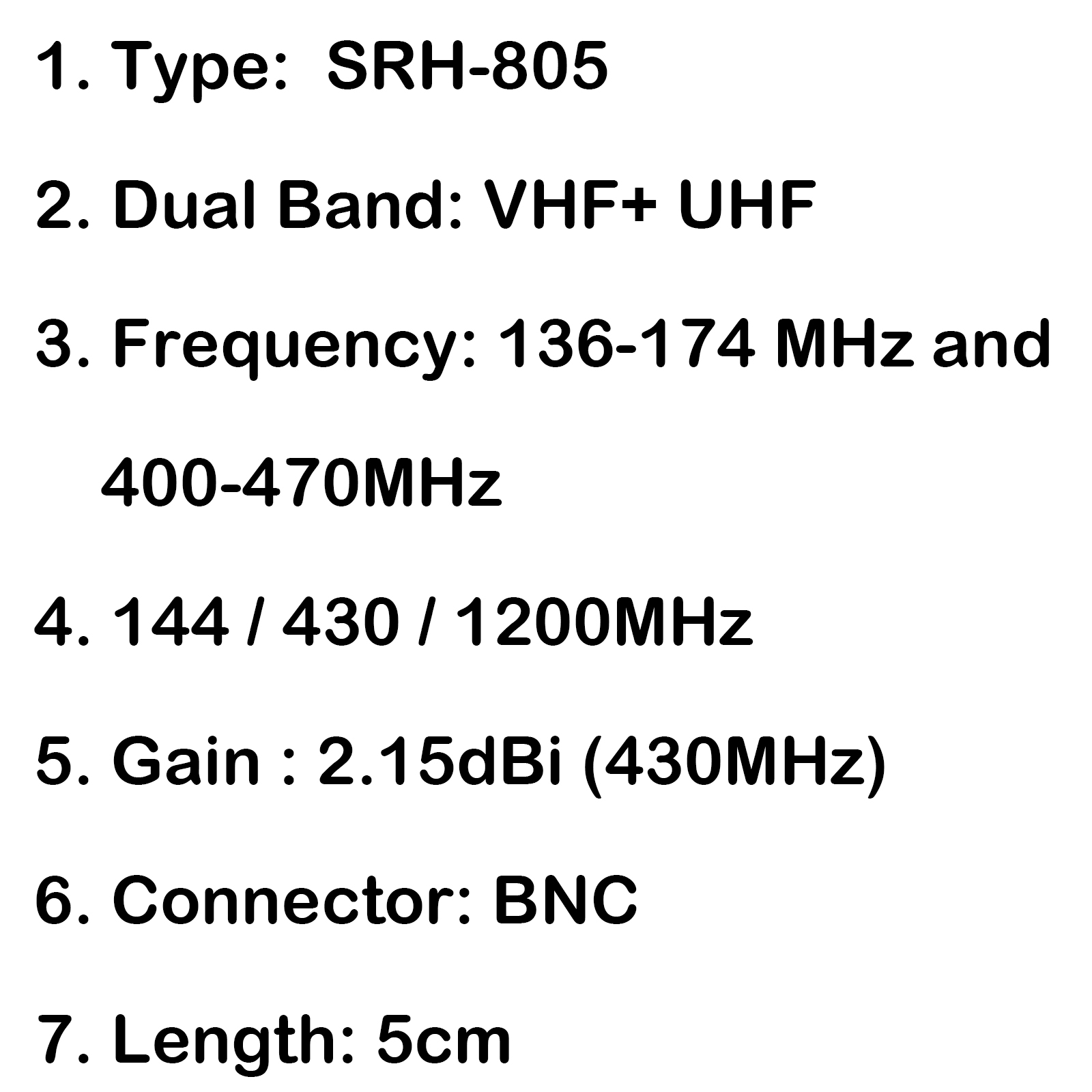 1xsrh 805 5cm Bnc Dual Band Receiving Coverage Antenna 144