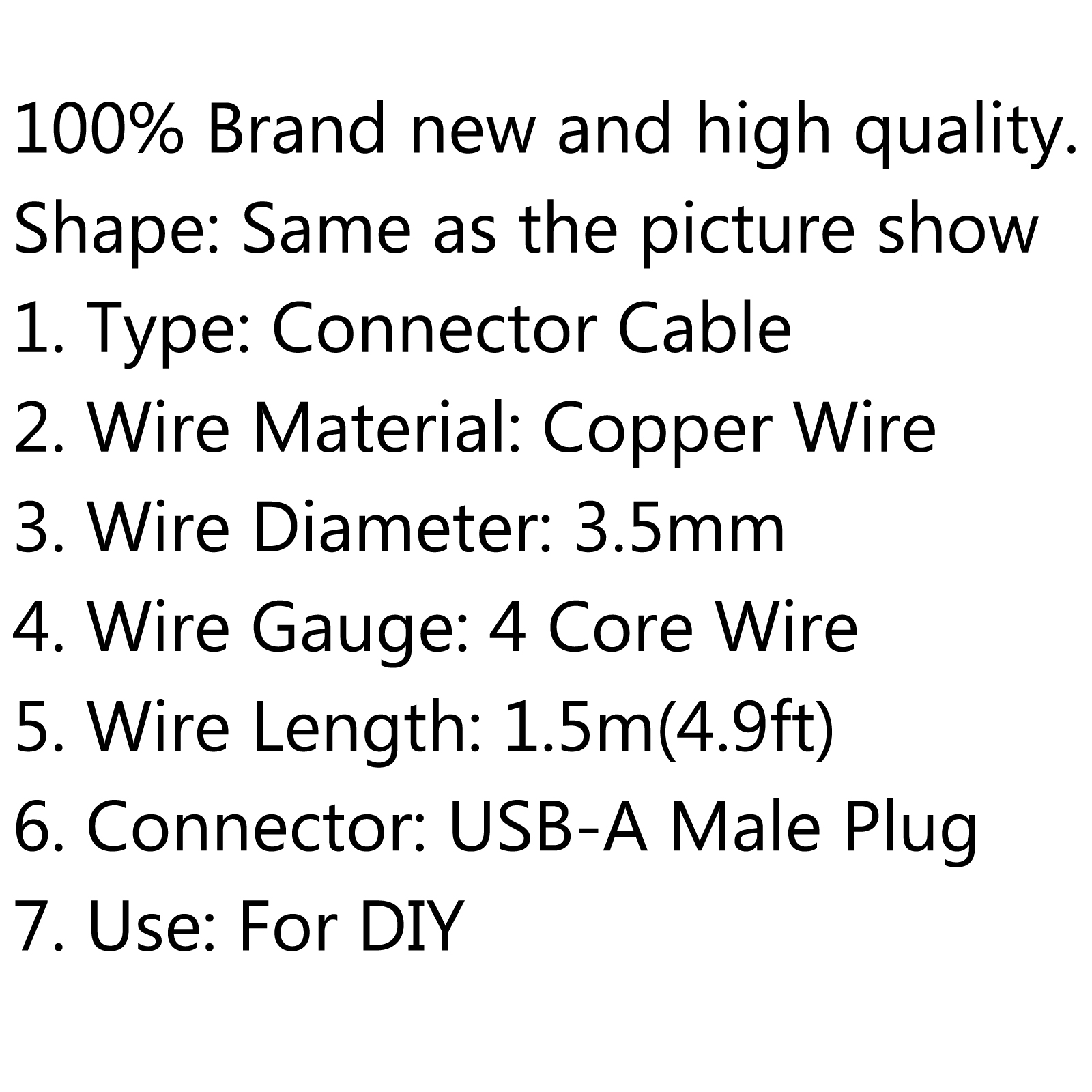 Usb A Male Plug 4 Core Wire Power Adaptor Connector Cable