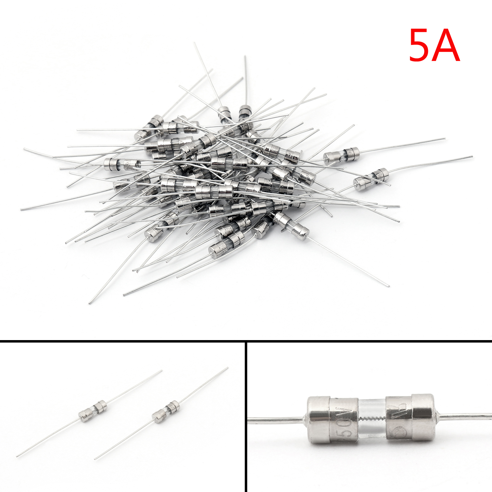 50pcs Glass Tube Fuse Metal Axial Double Hat Slow Blow