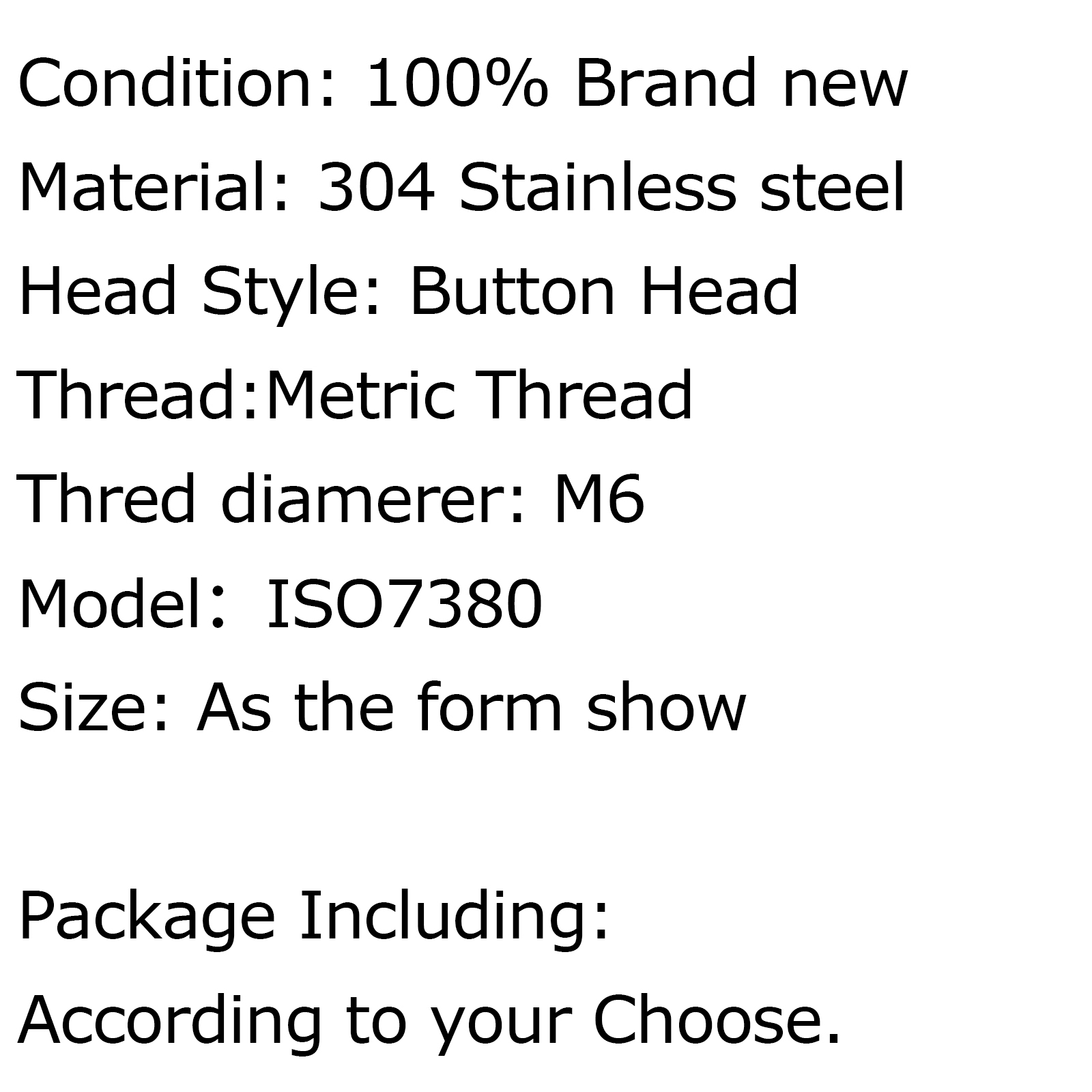 Metric M6 304 Stainless Steel A2 Button Head Hex Socket