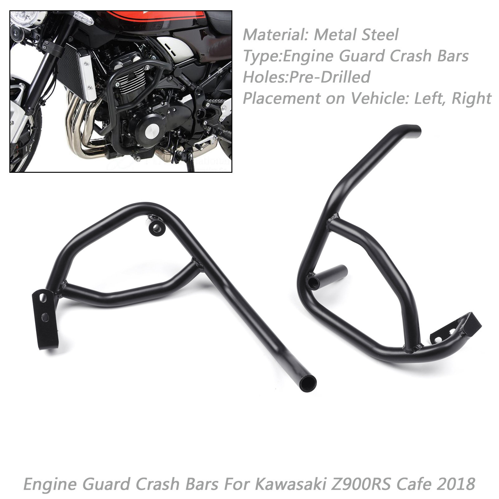 Black Highway Motorcycle Engine Guard Crash Bars For