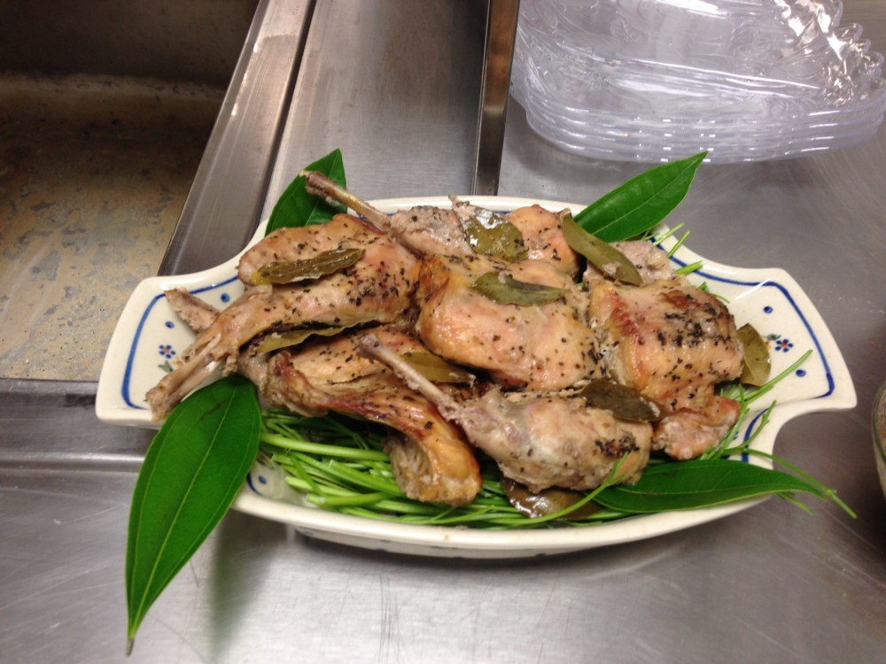 Roast Rabbit braised with ginger sauce (head table dish).