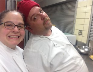 Renaude and I in the kitchen for the Crown Tourney Feast