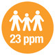 icon showing 23 ppm