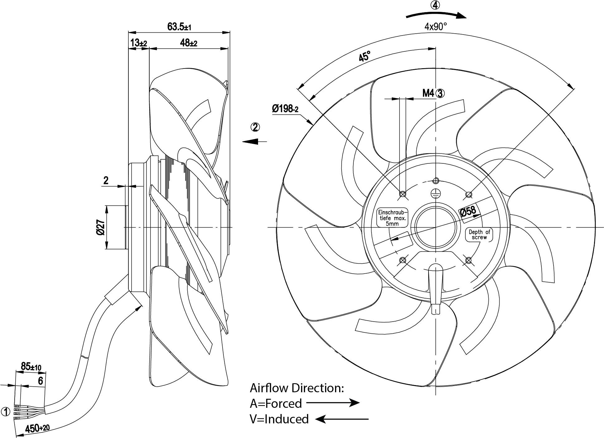200mm Axial Fan Induced Air Flow